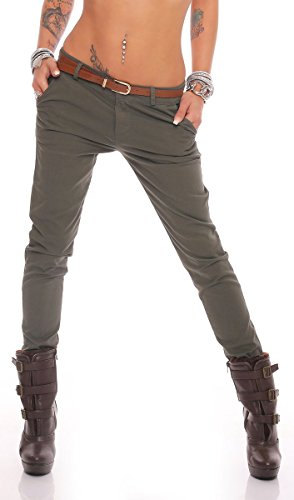 Fashion4Young Damen Skinny Chino Pant Hautenge Treggings Stretch-Stoff Damenhose mit Gürtel