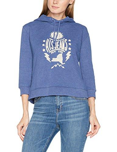 H.I.S Sweatshirt für Damen / Trendiger Pullover in Blau mit Stickerei und ausgefallenem Rückenausschnitt ideal für kalte Tage / Hoodie in Größe