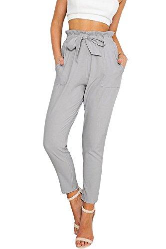 Simplee Apparel Damen Hosen Elegant High Waist Stretch Chiffon Skinny Hosen Pants Casual Streetwear Hosen mit Tunnelzug