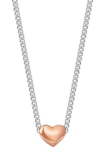 Esprit Essential Damen-Kette mit Anhänger ES-HEART NUGGET ROSE Edelstahl rhodiniert - ESNL13259C420