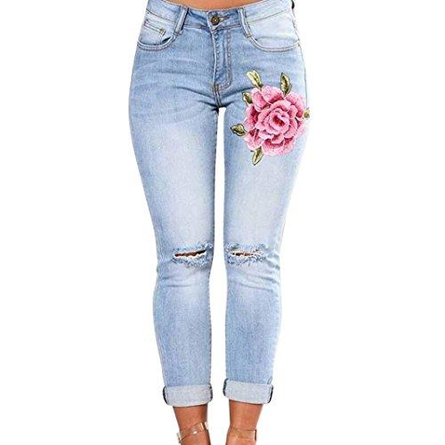 Damen Hosen Sommer LHWY Frauen Slim Fit Lang Hosen Ecke Gestickte Elastische Sport Jeanshosen Skinny mit Taschen Bekleidung Loch Gerade