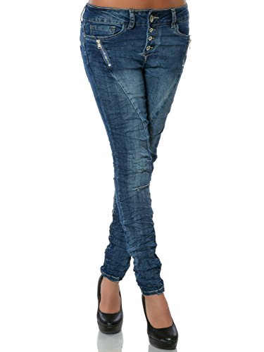 Damen Skinny Jeans Hose Knopfleiste DA 15831