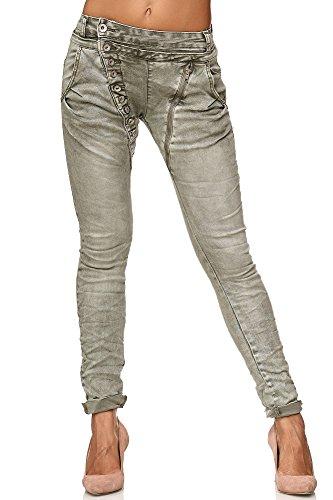 Elara Damen Jeans | Knopfleiste | Reißverschluss | Chunkyrayan