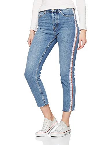 ONLY Damen Onlemily Hw Rib DNM Mb Straight Jeans