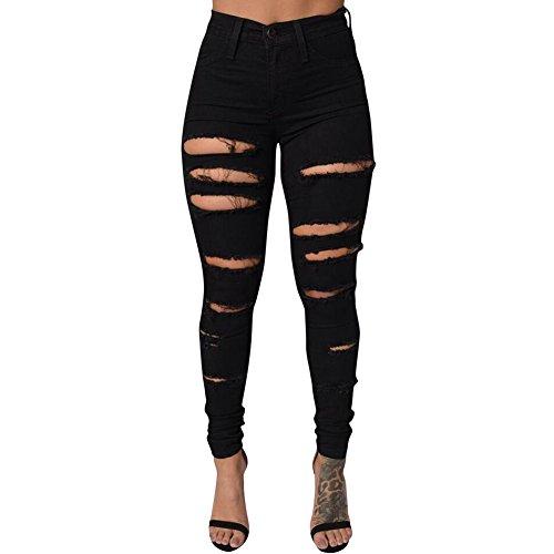 iBaste Jeanshose Damen Stretch Hose Zerrissen High Waist Bleistifthose Jeans Hose Skinny Hochbund Röhrenjeans Lässige Hosen