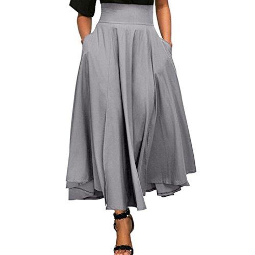 Kleider Damen Sommer Elegant Knielang Hohe Taille plissiert eine Linie Langen Rock vorne Schlitz Gürtel Maxi Rock…