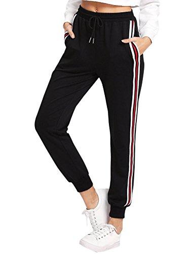 DIDK Damen Jogginghose Sporthose Casual Hosen Sweathose Elastischer Bund Pants Laufhose mit Tunnelzug und Taschen