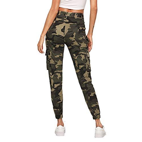 SOLY HUX Damen Sport Sweatshose Camouflage Gürtel Hosen Seiten Taschen Reißverschluss Laufhose Bunt Hosen Sporthose Capris Jogger Pants
