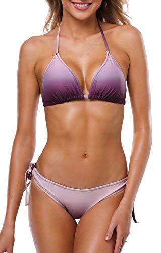 Anwell Bikini Damen Set Triangel Bikini Push Up Bandeau Bikini Neckholder Bustier