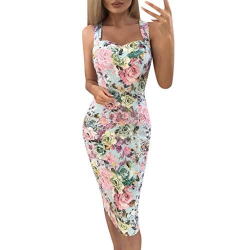 Beikoard Bodycon Kleid Damen Kleider Druckfarbe Block ärmelloses Kleid A-Line Maxikleid Sommerkleid Ballkleid