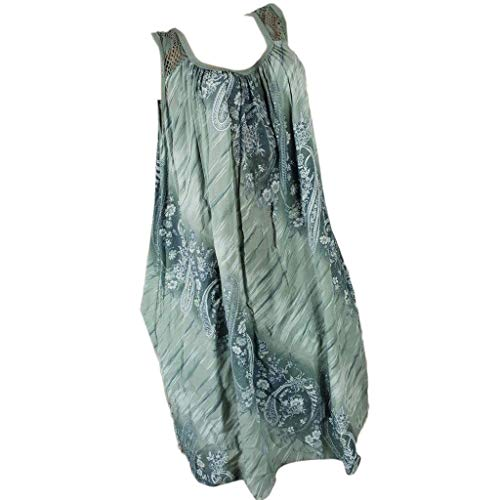 Beikoard Damen Kleid Vestkleid Ärmelloses Trägerkleid Übergröße Shirtkleid Sommerkleid Spitzennaht Langes Shirt Casual Strandkleid Maxikleid