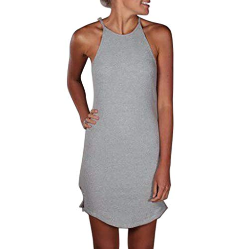 Beikoard Damen Kleid Ärmellos Einfach Sommerkleid Camisole Bodycon Kleid Langes Unterkleid Westenkleid