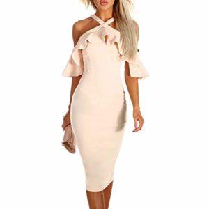 Beikoard Damen Kleider Schulterfrei Sommerkleid Knielang Abendkleid Casual Rüschen überqueren Partykleid Elegant Bodycon-Kleid