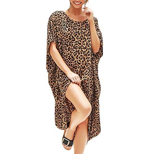 Beikoard Damen Kleider Sexy Open Leopard Splice Sommerkleid Print Kurzarm Lässige Maxikleid Shirtkleid
