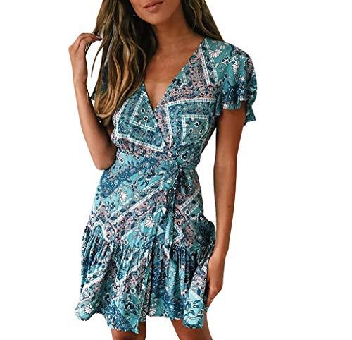 Beikoard Damen Kleider V-Ausschnitt Sommerkleid Blumen Mini Strandkleid Boho Rüschen Fledermausärmel Freizeitkleider