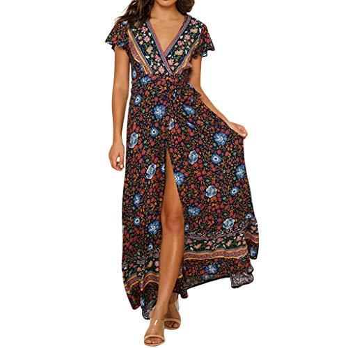 Beikoard Damen Langes Maxikleid mit floralem Boho-Print Casual Kleid Wellenpunkt Langärmliges Kleid Strandkleid Langarm Sommerkleid
