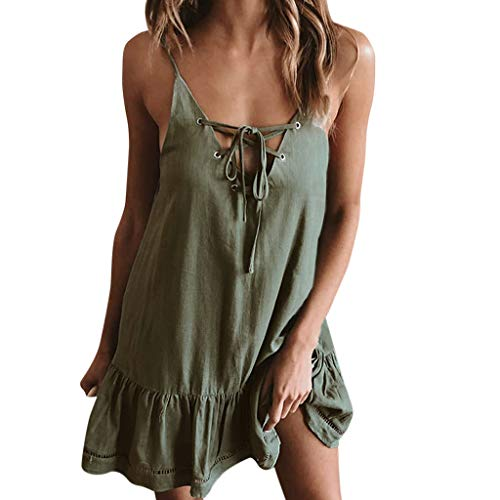 Beikoard Damen Sexy V-Ausschnitt Minikleid Casual Ärmellos Abend Partykleid Rückenfrei Sommerkleid Strandkleid Solider Lotus-Saum Trägerkleid