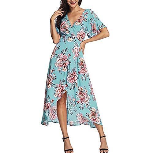 Beikoard Damen Sommer V-Ausschnitt Brautkleid Kurzarm Blumenmuster Party Abendkleider Maxikleid Ballkleid Lang Sommerkleid Strandkleid