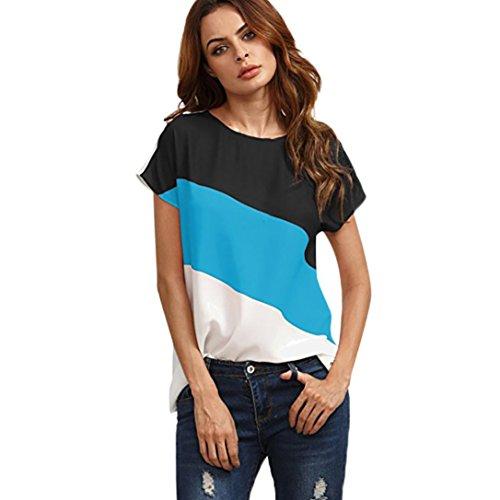 Beikoard Damen T-Shirt, Frauen einfaches 3-Farben-Block-T-Shirt Chiffon Bluse Kurzarm Casual Tunika Tops Beiläufig Tanktops Pullover O-Ausschnitt T-Shirt Sport