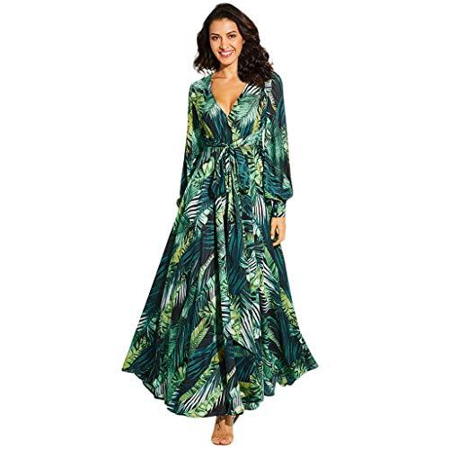 Beikoard Frauen Drucken Kleider Chiffon Langarm Langes Kleid Partykleid Gürtel mit tiefem V-Ausschnitt Frühlingskleid
