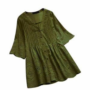Beikoard Frauen Retro Bluse Sommer Rein Hemd mit Knöpfen Knopf V-Ausschnitt Tunika Plissiertes Hemd Große Größen Oberteile