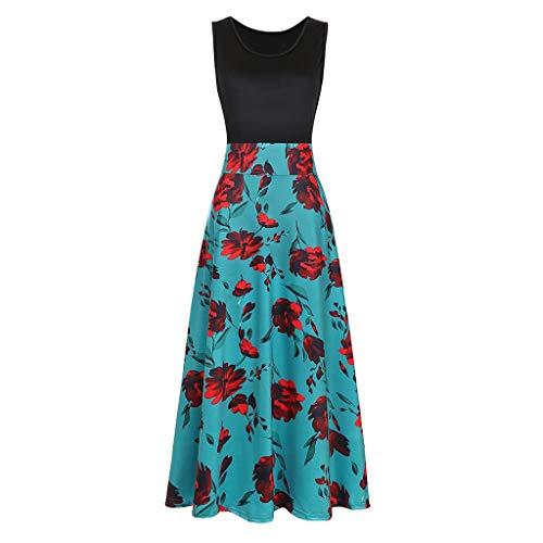 Beikoard Kleid Damen Casual Ärmellos Swing Kleid Mit Blumen Bedruckt Maxikleid Elegant Sommerkleid Böhmisches Kleid Fit & Flare Kleid
