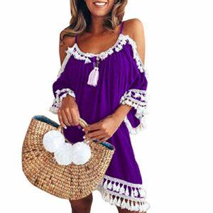 Beikoard Kleid Damen Cocktailkleider Schulterfrei Party Strandkleider Quaste kurz Sommerkleid Shirtkleid Ärmellos Tunikakleid Mehrfache Farbauswahl