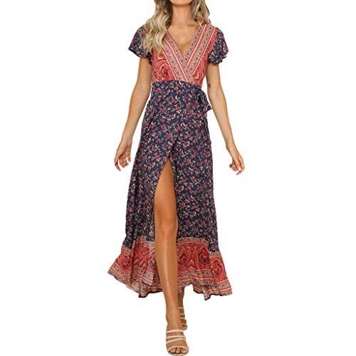 Beikoard Kleid Damen Vintage A Linien Abendkleid Sexy Casual Hohe Taille Böhmen Elegant Sommerkleid Print V Neck National Style Langes Kleid