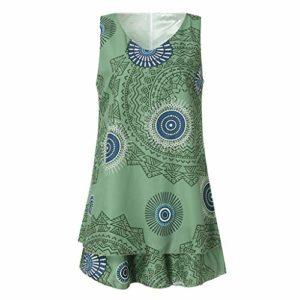 Beikoard Übergröße Damen Tunika T-Shirt Kleid Einfaches Kleid Langes Shirt Casual Midikleid drucken Loose Shift Ärmellose Tankweste Sommerkleid Rundhalsausschnitt Strandkleid
