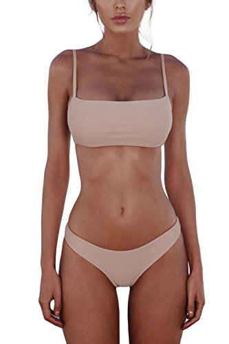 Cassiecy Damen Bikini Set Push Up Gepolstert Bustier Zweiteilig Sommer Sportliches Bademode Strand Bikini