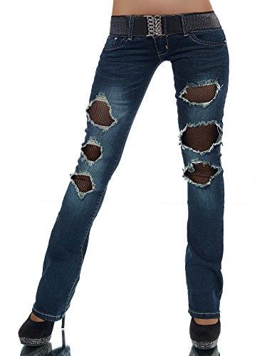 L872 Damen Jeans Hose Hüfthose Damenjeans Hüftjeans Bootcut Schlag Schlaghose
