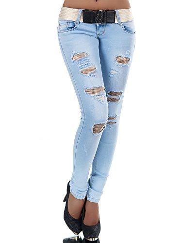 N384 Damen Jeans Hose Hüfthose Damenjeans Hüftjeans Röhrenjeans Röhrenhose Röhre
