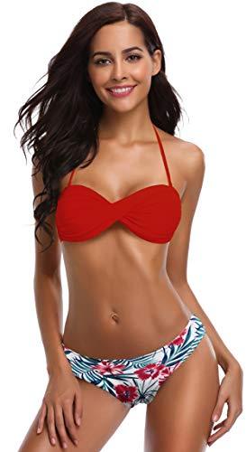 SHEKINI Damen Bandeau Bikini Set Verstellbarer Rückenfrei Elegant Twisted Design Bikinioberteil Zweiteiliger Badeanzug…