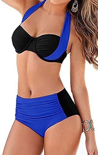 Socluer Bikinis Damen 2 Piece Badeau Badeanzüge Schwimwear Neckholder Push Up Bikini Set mit Shorts
