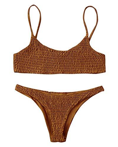 ZAFUL Damen Cami Smocked Bikini-Sets mit Spaghetti-Träger Bikinis Set