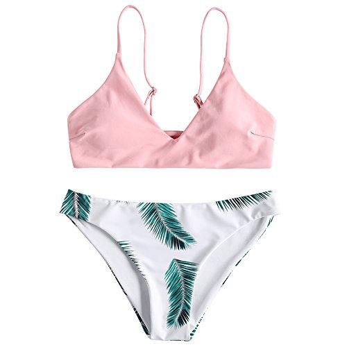 ZAFUL Damen Gepolsterter Bikini Set Bademode Badeanzug mit Blatt Pattern Zweiteilig