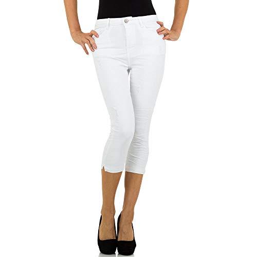 schuhcity24 Damen Jeans Hose Jeanshose Damenjeans High Waist Hochbund Capri 3/4 Hose XS-XL
