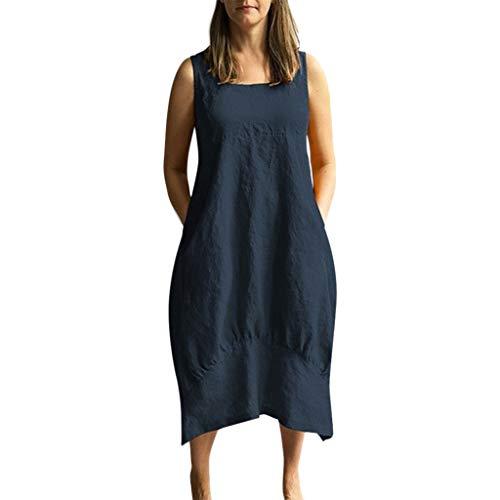 AIni Damen Sommerkleid Beiläufiger O-Ausschnitt festes Kleid ärmelloses Lose Elegant Tasche Leinenkleid Festlich Partykleid