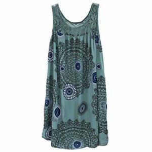 BOLANQ Damenmode Spitze Stitching Print äRmelloses Kleid