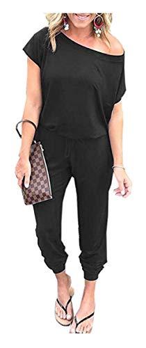 Caracilia Jumpsuits Damen Sommer Rundhals Eine Schulter Kurzarm Strampler Elastischer Taillen-Overall mit Taschen und…
