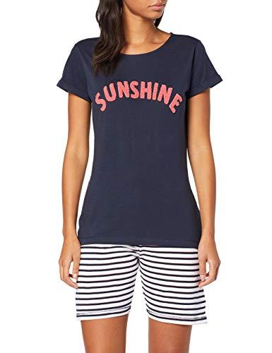ESPRIT Damen Alice Cas Nw Pj Navy Stripe Zweiteiliger Schlafanzug