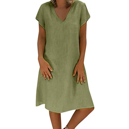 EUCoo Frauen Sommer Leinenkleid Vestido T-Shirt Baumwolle LäSsig Plus GrößE Leinenkleid