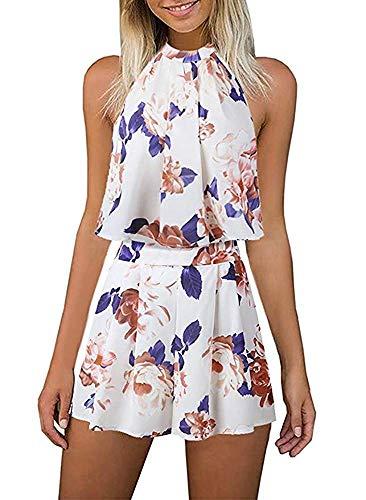 EULLA Damen Jumpsuit Kurz Sommer Blumenmuster Rompers Ärmellos Elegant Schlitz Overall Playsuit Vintage Boho Strandkleid…