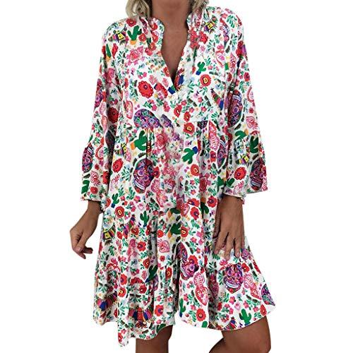 LOPILY Frauen Große Größen Blumenmuster Kleider Boho Stil Übergröße Sommerkleider Blumendruck Knielang Kleid Kurzarm Kleid Tunika Swing Kleid
