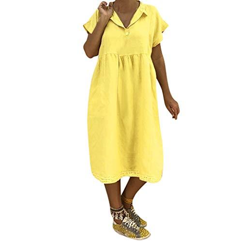 LOPILY Lose Tunika Blusenkleider Damen Sommer Lässige Spitzensaum V-Ausschnitt Kleider Strandkleid Einfarbig Einfach Bequem Freizeit Knielang Sommerkleider Übergröße