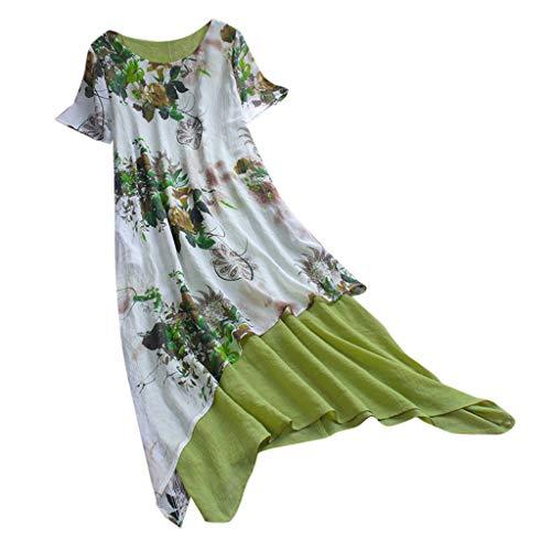 Lialbert Blumendruck RundhalsÄRmellos Dame Kleid Pailletten Leinenkleid Vintage Frauen Asymmetrischem Saum Swing-Kleid Sommerkleid Langes Strandkleid Blumenmuster Rock