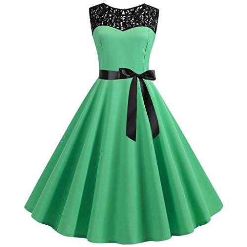 QIMANZI Damen 50s Retro Schwingen Vintage Rockabilly Kleid Faltenrock