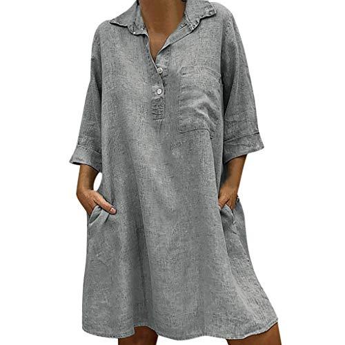 QIMANZI Damen Solide Boho Abdrehen Halsband Kleid 3/4 Ärmel Beiläufig Tasche Knopf Kleid
