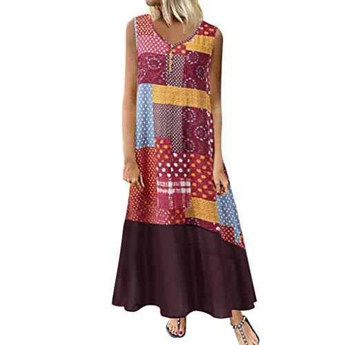 Tohole Damen Strandkleider Türkischer Stil Boho Lose Tunika Lange Sommerkleider Shirt Strandhemd Kleid Urlaub Vintage unregelmäßiges Kleid