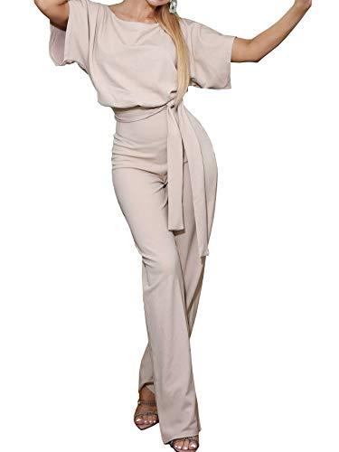 Woweal Jumpsuits Damen Kurze Ärmel Casual Playsuit Fashion Rundhals Overall Pants 3/4 Weite Bein Hosen Rompers